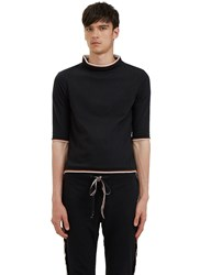 Telfar Raw Layered Mock Neck T Shirt Black
