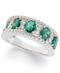 Macy's 14K White Gold Ring Oval Cut Emerald 1 3 4 Ct. T.W. And Diamond 1 3 Ct. T.W. Band
