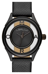 Marc By Marc Jacobs 'Tether' Skeleton Leather Strap Watch 25Mm Black