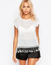 B.Young T Shirt With Tassel Trim Off White