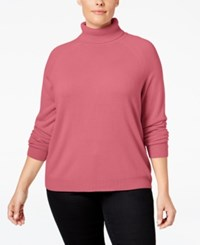Karen Scott Plus Size Cashmelon Luxsoft Turtleneck Sweater Only At Macy's Pink Orchid
