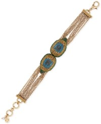 Lucky Brand Gold Tone Peacock Pave Multi Chain Bracelet