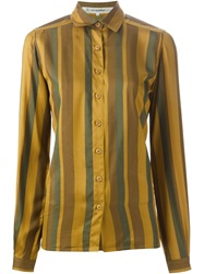 Jean Louis Scherrer Vintage Striped Blouse Green