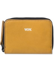 Wood Wood Tan Leather Card Zip Wallet