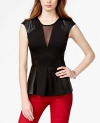 Guess Faux Leather Detail Ponte Peplum Top