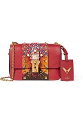 Valentino B Rockstud Micro Printed Textured Leather Shoulder Bag
