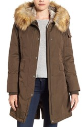 1 Madison Women's Hooded Parka With Faux Fur Trim Olive Amber