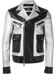 Dsquared2 Two Tone Leather Jacket Black