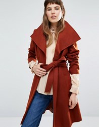 Miss Selfridge Wrap Belted Coat Rust Copper