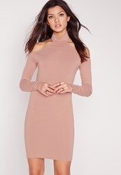 Missguided Jersey Long Sleeve Halter Mini Dress Pink Red