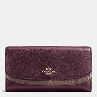Coach Double Flap Wallet In Colorblock Leather Light Gold Oxblood Bronze