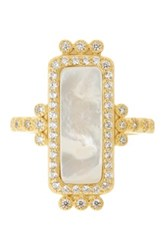 Freida Rothman 14K Gold Plated Sterling Silver Cz Mother Of Pearl Bar Ring Size 9 Metallic