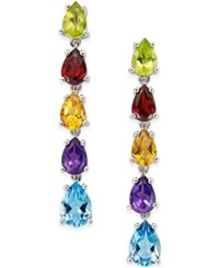 Macy's Colorful Multi Gemstone Linear Drop Earrings 6 Ct. T.W. In Sterling Silver No Color