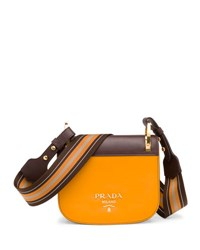 Prada Bicolor Leather Saddle Bag Gray
