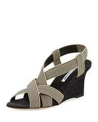 Manolo Blahnik Lasti Stretch Canvas Wedge Sandal Black White Women's