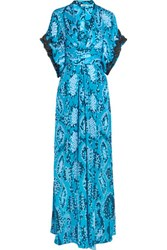 Issa Pollyanna Silk Double Georgette Maxi Dress Light Blue