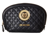 Love Moschino Quilted Makeup Bag Black Handbags