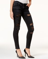 True Religion Casey Ripped Black Wash Super Skinny Jeans Smoke