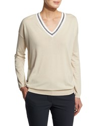 Brunello Cucinelli Long Sleeve V Neck Rugby Sweater Butter Yellow Men's Size Xxx Small