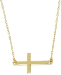 Studio Silver 18K Gold Over Sterling Silver Necklace Sideways Cross Pendant