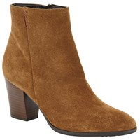 John Lewis Prunella Block Heeled Ankle Boots Brown