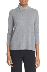 Kate Spade Women's New York Collared Relaxed Wool Sweater Miles Grey Melange