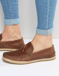 Asos Tassel Loafers In Tan Leather With Jute Wrap Sole Tan
