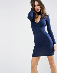 Asos High Neck Open Back Long Sleeve Mini Dress Navy