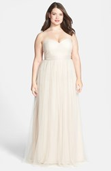 Plus Size Women's Jenny Yoo 'Annabelle' Convertible Tulle Column Dress Cashmere