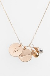 Women's Nashelle Pyrite Initial And Arrow 14K Gold Fill Disc Necklace Gold Pyrite Silver Pyrite V
