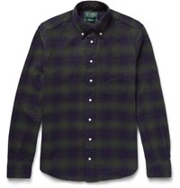 Gitman Brothers Vintage Slim Fit Button Down Collar Checked Cotton Flannel Shirt Navy