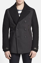 Rogue Bull Denim And Wool Peacoat With Leather Trim Black
