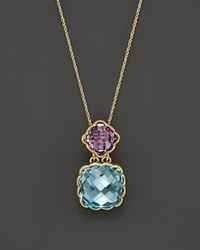 Bloomingdale's Amethyst And Blue Topaz Pendant Necklace In 14K Yellow Gold 18 Gold Multi