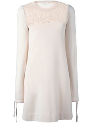 Chloe Embroidered Lace Knit Dress Pink And Purple