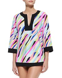 Athena Printed Solid Trim Jersey Tunic Coverup Multi