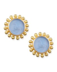 Elizabeth Locke Cerulean Tiny Horse Intaglio Stud Earrings
