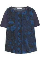 Equipment Riley Printed Silk Top Blue