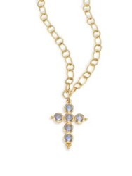 Temple St. Clair 18K Gold And Moonstone Cross Pendant Gold Blue