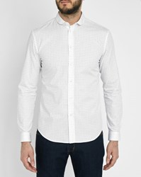 Carven White All Over Logo Small Collar Slim Fit Shirt