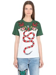 Gucci Studded And Embroidered Jersey T Shirt