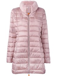 Save The Duck Padded Round Neck Coat Pink Purple