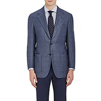Kiton Men's Windowpane Plaid Two Button Sportcoat Grey