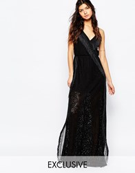 White Sand Wrap Front Cami Strap Crochet Maxi Dress With Fringing Black