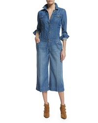 Michael Michael Kors Wide Leg Cropped Denim Jumpsuit Veruschka Wash