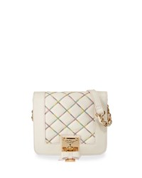 Betsey Johnson Cotton Candy Quilted Crossbody Bag Cream Ivory