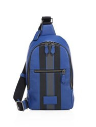 Coach Modern Varsity Stripe Campus Backpack Blue