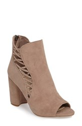 Jessica Simpson Women's Millo Open Toe Bootie Warm Taupe Suede