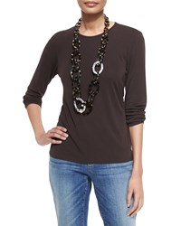 Eileen Fisher Long Sleeve Silk Crewneck Tee Chocolate Women's