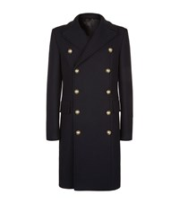 Balmain Wool And Cashmere Double Breasted Overcoat Male Navy