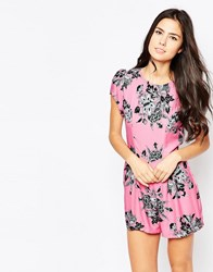 Motel Hoppy Short Sleeve Romper In Morris Flower Pink Pink